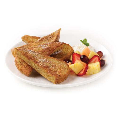French Toast - Classic french toast made with our very own Aroma Bread (baked fresh every day). Served with a side of seasonal fruit and a side of whipped cream.