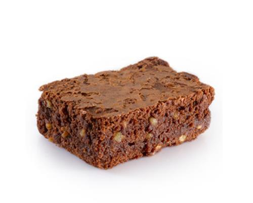 Brownie - Our moist, gooey and decadent chocolate brownie with walnuts inside. One of our most popular bakery items.