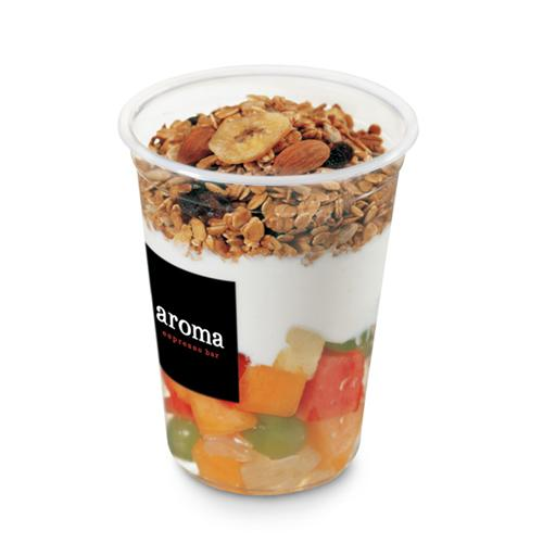 Muesli in a Cup - Fresh fruit topped with yogurt and fresh granola. Served in a cup to go over a bowl to stay.