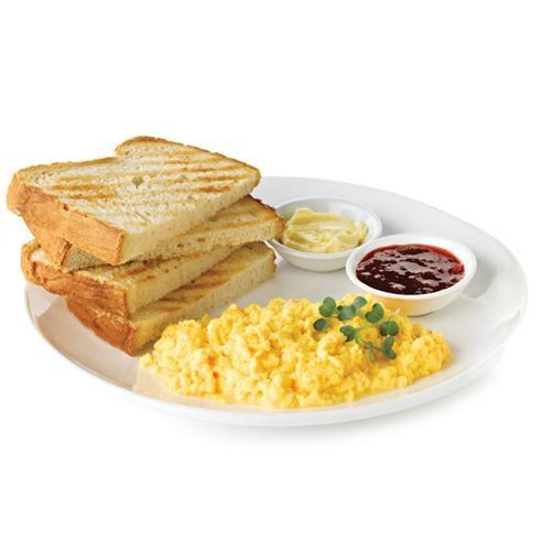 Breakfast ON-THE-GO - Two eggs any style, two slices of our house-baked Aroma bread and a side of butter and jam