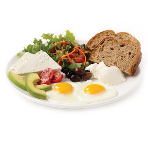 POWER BREAKFAST - Two Eggs (any style), Salad (Lettuce, Tomato, Cucumber, Carrot), Black Olives, Cream Cheese, Feta Cheese, Avocado, a side of Aroma Bread.