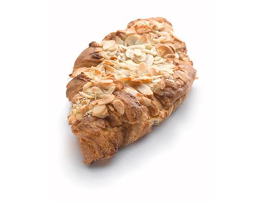 Almond Croissant - Our fresh baked buttery plain croissant topped and filled with almond cream and sliced almonds.