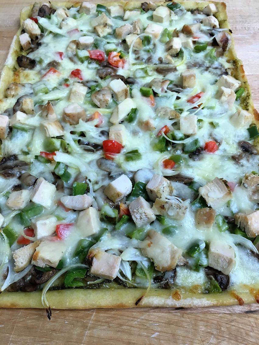 Pesto Chicken Flatbread Pizza
