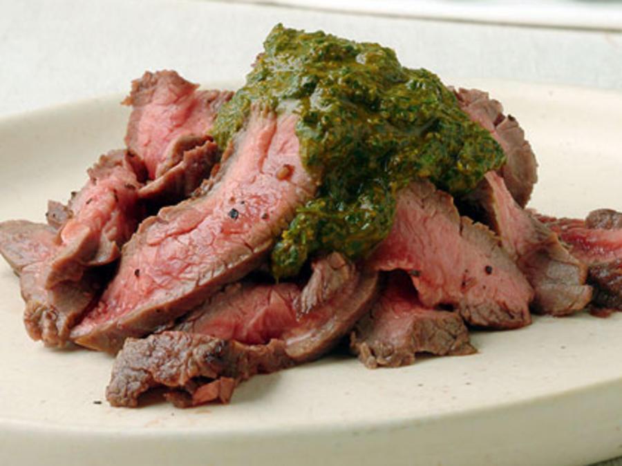 Sizzle Sizzle Yum:Grilled Hanger Steak w/ Chermoula Sauce