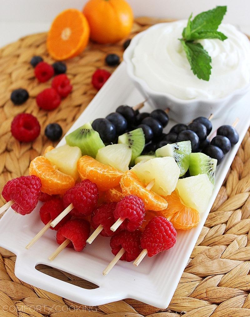 Fruit Skewers with Honey Yogurt Dip: A Great Office Snack!